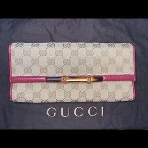Authentic Gucci bamboo monogram clutch crossbody
